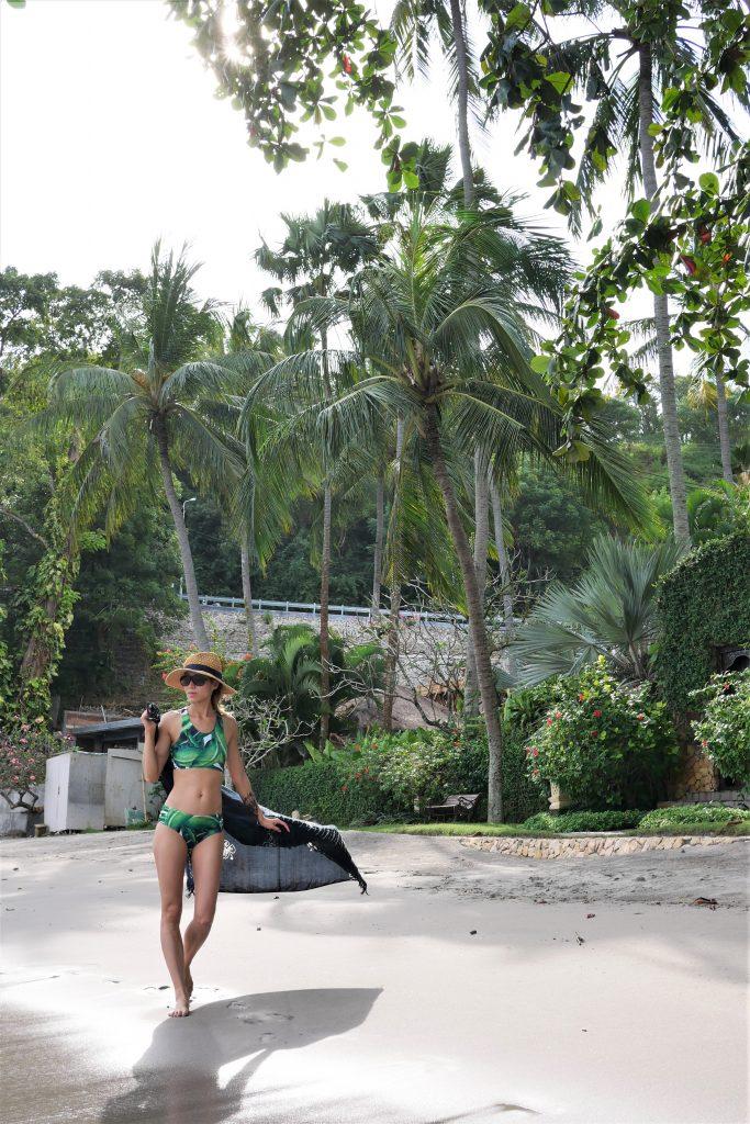 shein bikini palm leaf print