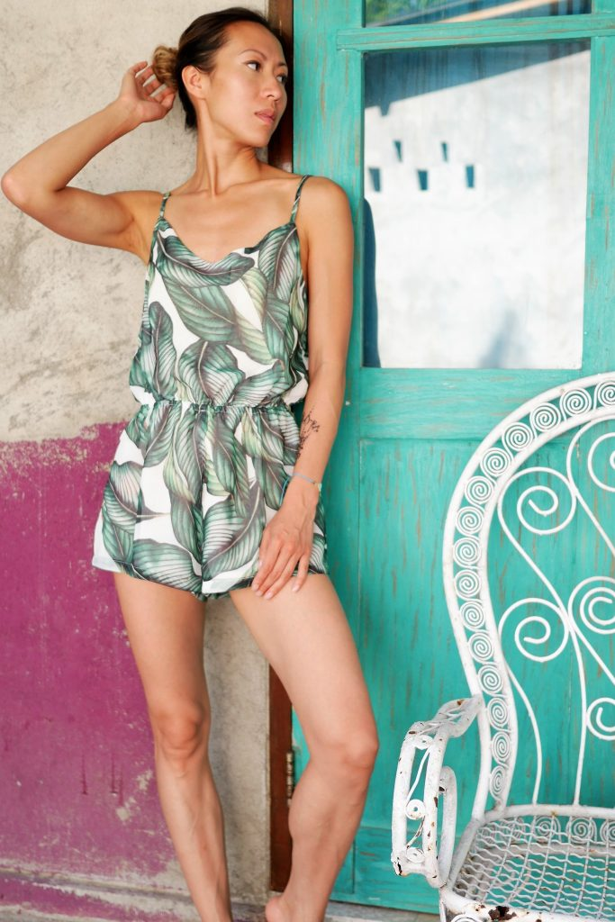 Shein romper palm leaf botanical